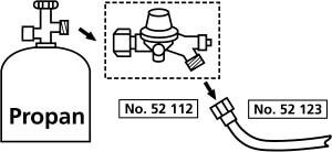 52112 Schlauchbruchsicherung mit Druckregler für das Abflammgerät
